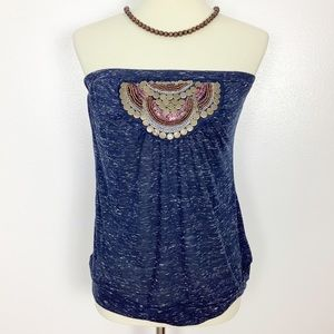 MAURICES EMBELLISHED TUBE TOP BOHO VIBE